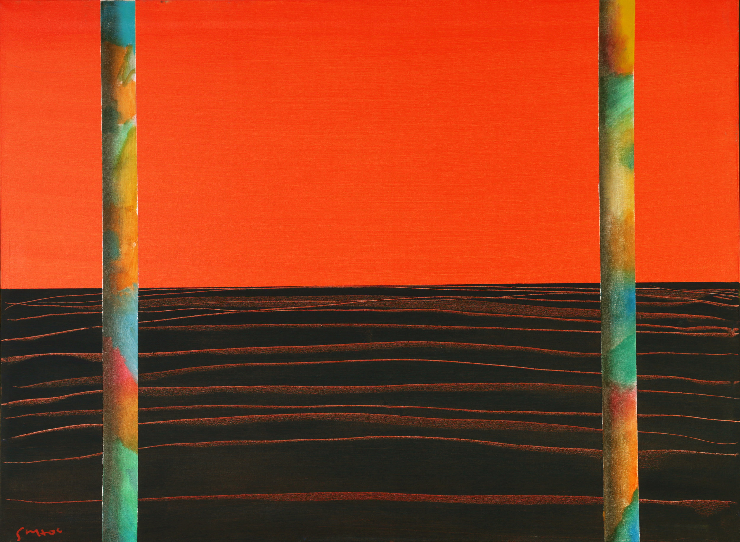 """Ray Khoo   Under the Red Sky   Oil on Canvas   35"""" x 47"""""""