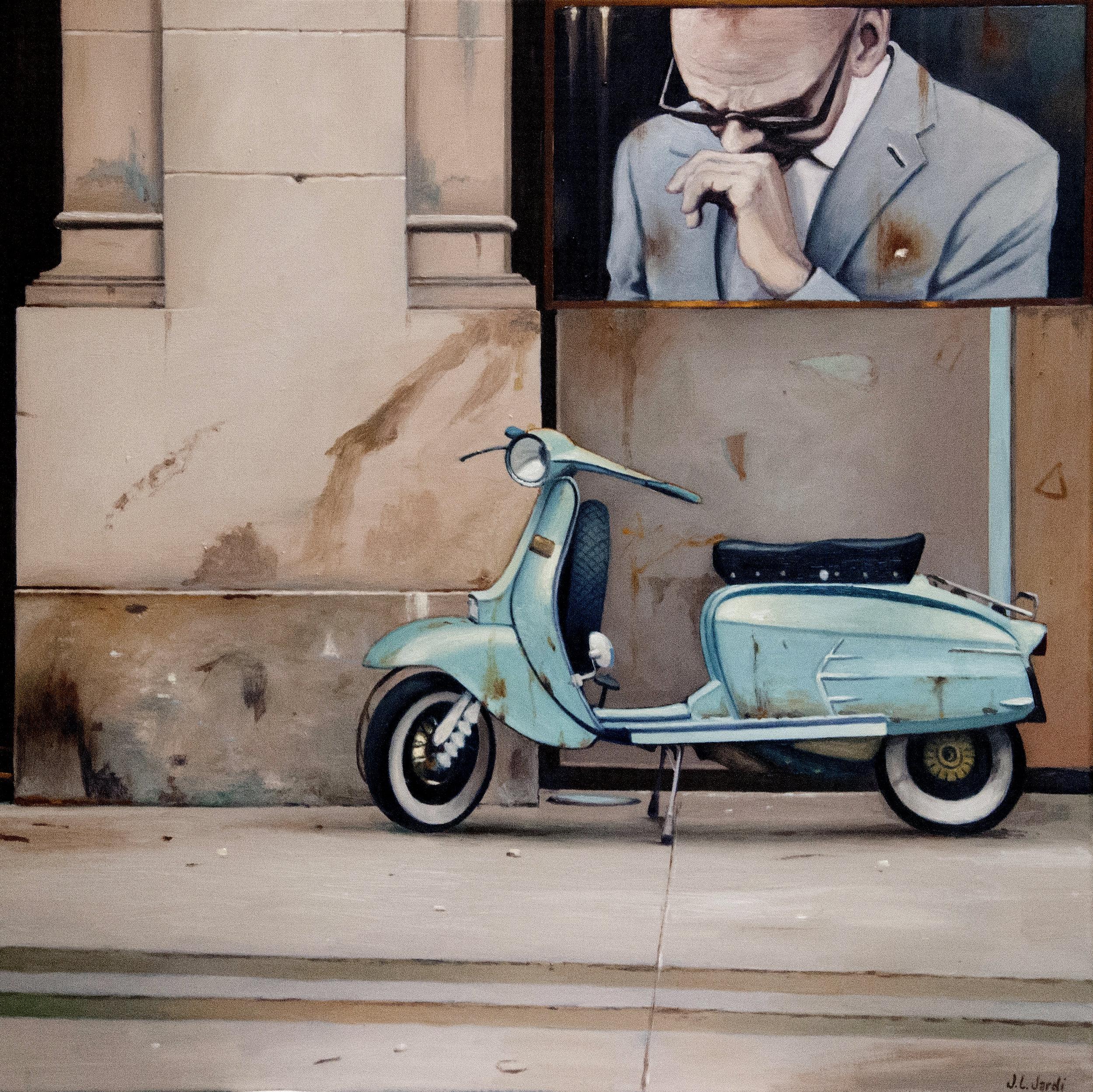 "Juan Luis Jardí |  Vespa en Roma  | Oil on Canvas | 26"" x 26"""