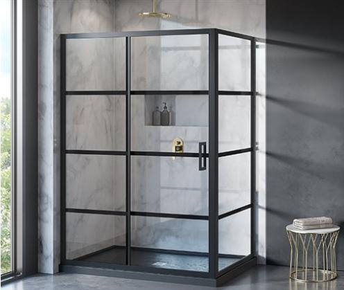 Latitude black framed shower door