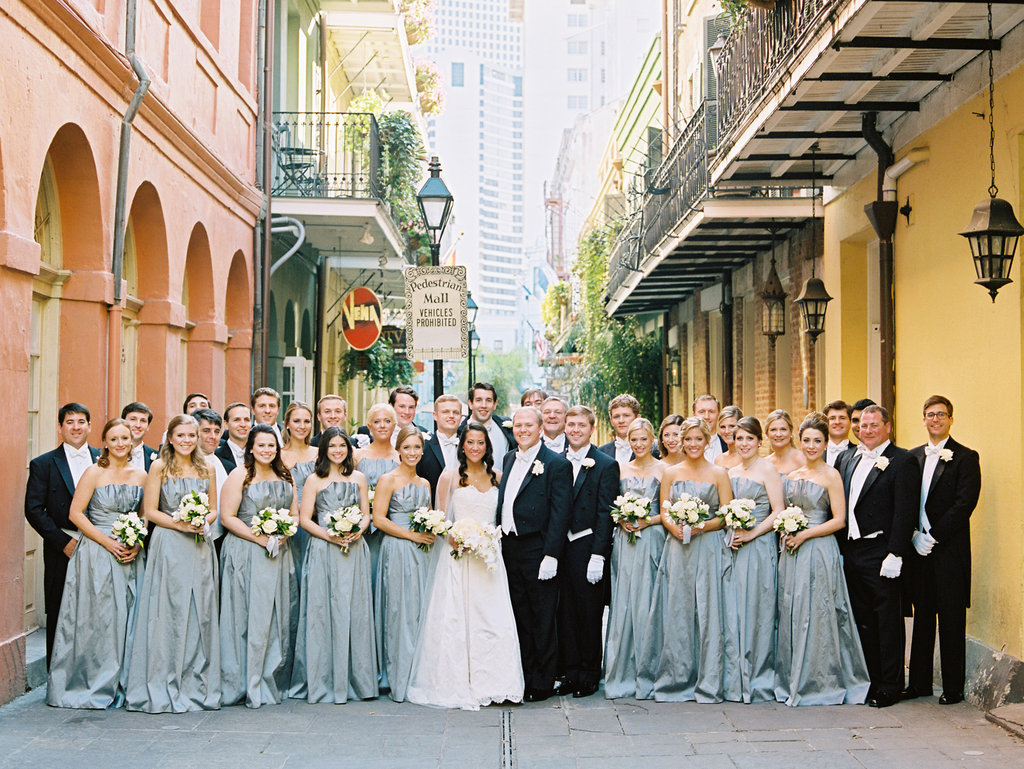 Wedding Planning | New Orleans Wedding | French Quarter Wedding | Sapphire Events | Ryan Ray Photography | White and Green Wedding | Formal Black Tie Wedding | Monique Lhuillier Dress | Tux with Tails | Large Bridal Party | Gray and White wedding | Grey and White Wedding | Exchange Alley | New Orleans Wedding