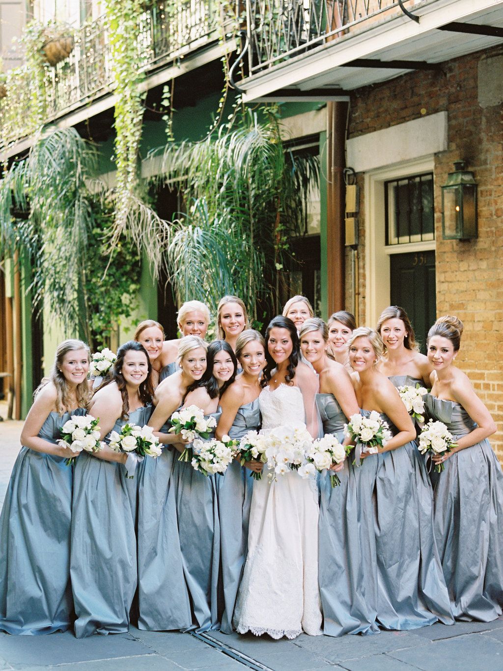 Wedding Planning | New Orleans Wedding | French Quarter Wedding | Sapphire Events | Ryan Ray Photography | White and Green Wedding | Formal Black Tie Wedding | Monique Lhuillier Dress | Gray and white wedding | Grey and white wedding | Formal wedding | Black tie wedding | Exchange Alley | Bridesmaids dresses | Gray dress | Large bridal party