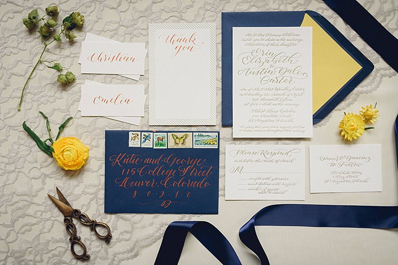 Sapphire Events | Dark Roux Photography | Stationery Ideas | Copper Calligraphy | Blue and Yellow Wedding | Wedding Planning Tips | What to do after the ring | Engagement Inspiration | Wedding Planning Inspiration | Best Wedding Planner in New Orleans | Essential Engagement Tips