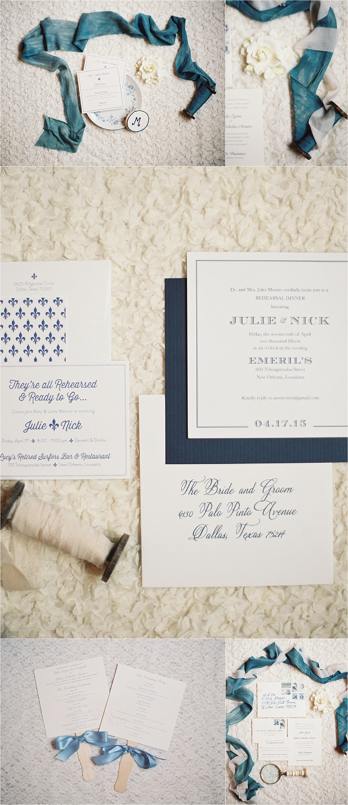 Sapphire Events | Catherine Guidry Photography | Wedding Planning | New Orleans Wedding | Stella Plantation Wedding | Blue and White Wedding | Classic Rainy Day Wedding | Outdoor Wedding | Tent Wedding | Hunter Boots | Blue and White Wedding Details | Blue and White Stationery | Blue Calligraphy