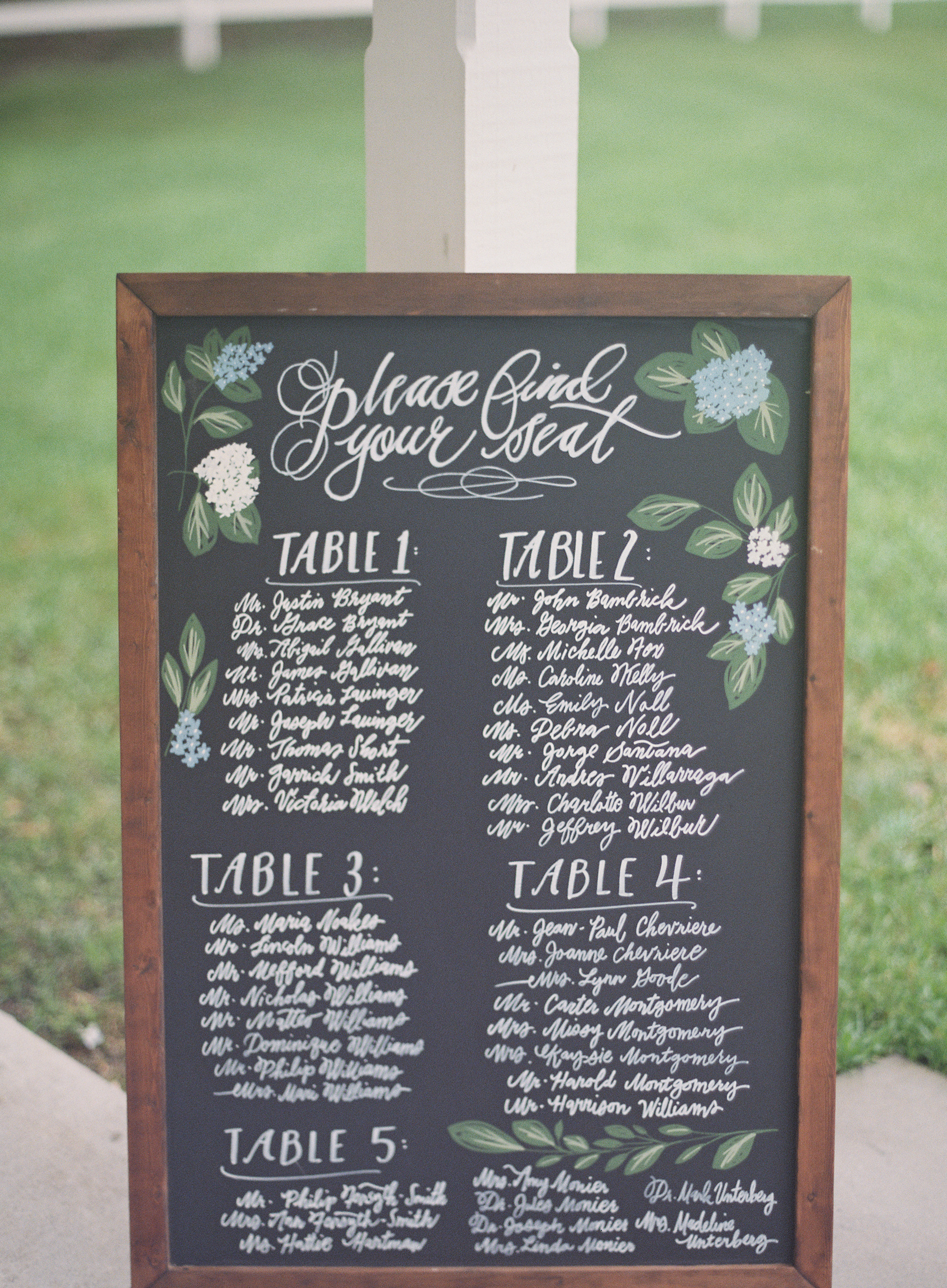 Sapphire Events | Catherine Guidry Photography | Wedding Planning | New Orleans Wedding | Stella Plantation Wedding | Blue and White Wedding | Classic Rainy Day Wedding | Outdoor Wedding | Tent Wedding | Hunter Boots | Blue and White Wedding Details | Small chalk hand-lettering | chalkboard sign | seating chart ideas | calligraphy