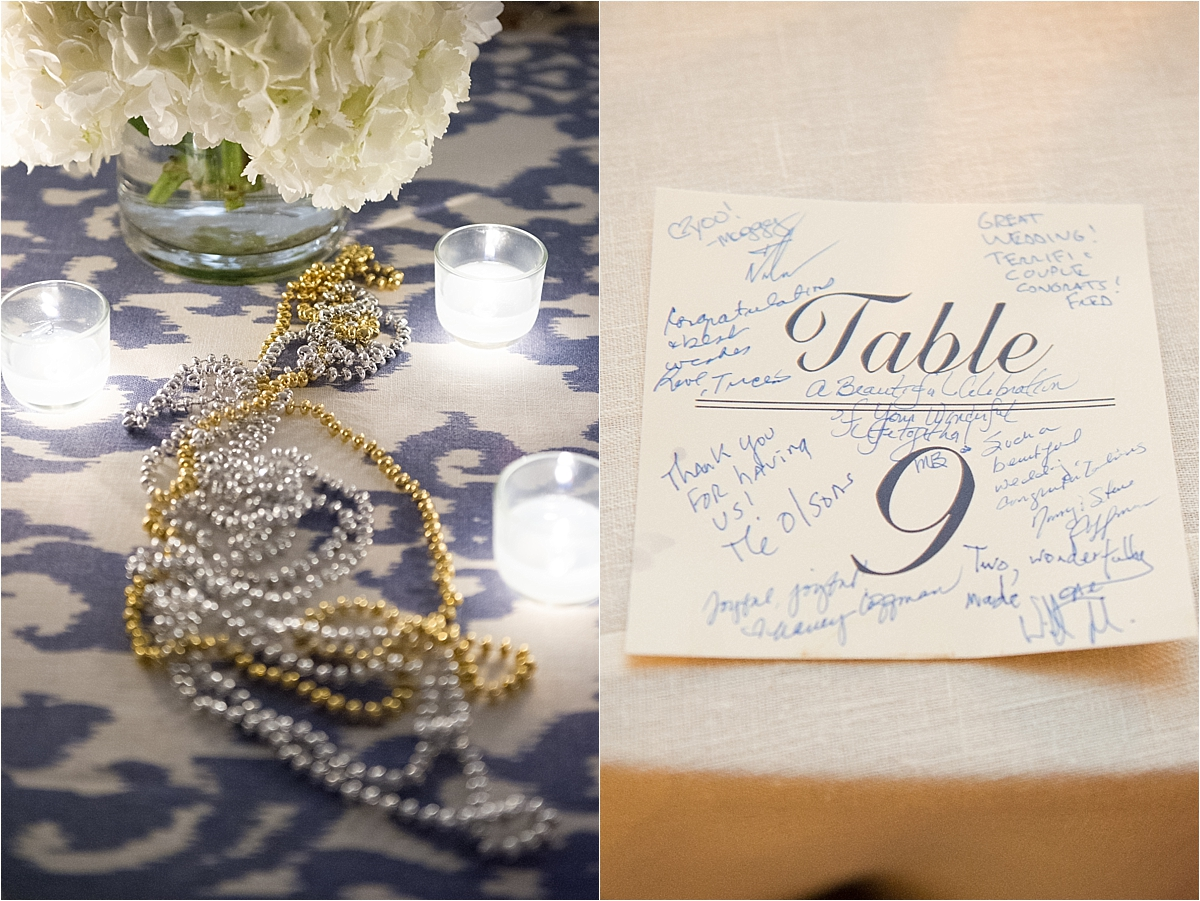 Sapphire Events | Catherine Guidry Photography | Wedding Planning | New Orleans Wedding | Stella Plantation Wedding | Blue and White Wedding | Classic Rainy Day Wedding | Outdoor Wedding | Tent Wedding | Hunter Boots | Blue and White Wedding Details | Seated dinner | Guest book table number ideas