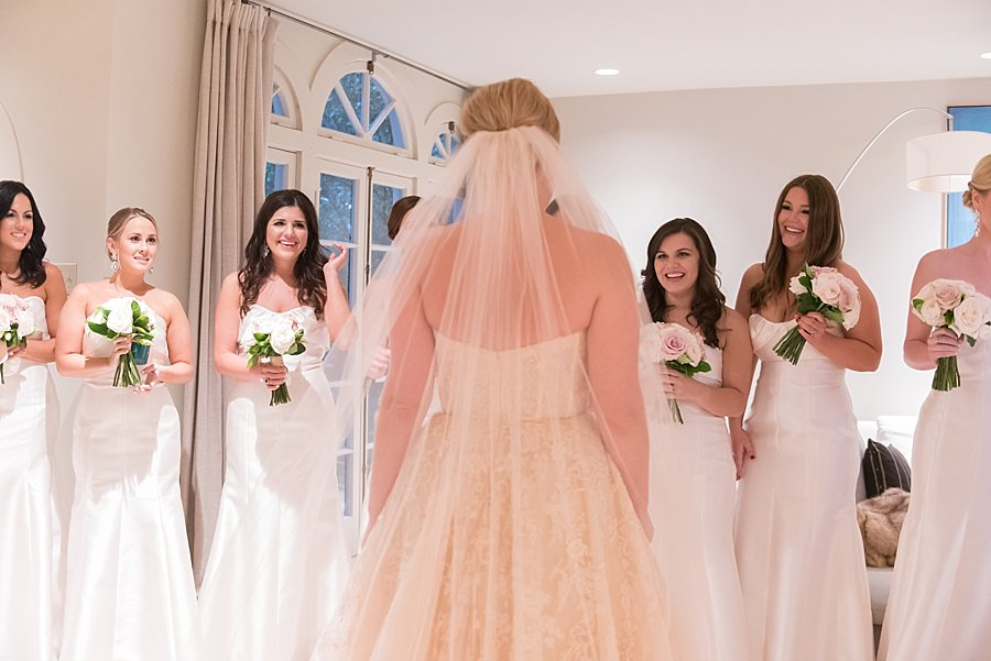 Classic black and white black-tie wedding at home | Sapphire Events | Jacqueline Dallimore Photo | NYE Wedding | Estate Wedding | Tented Wedding | Monique Lhuillier gown | Blush Wedding dress | white bridesmaids dresses | bridesmaid reveal