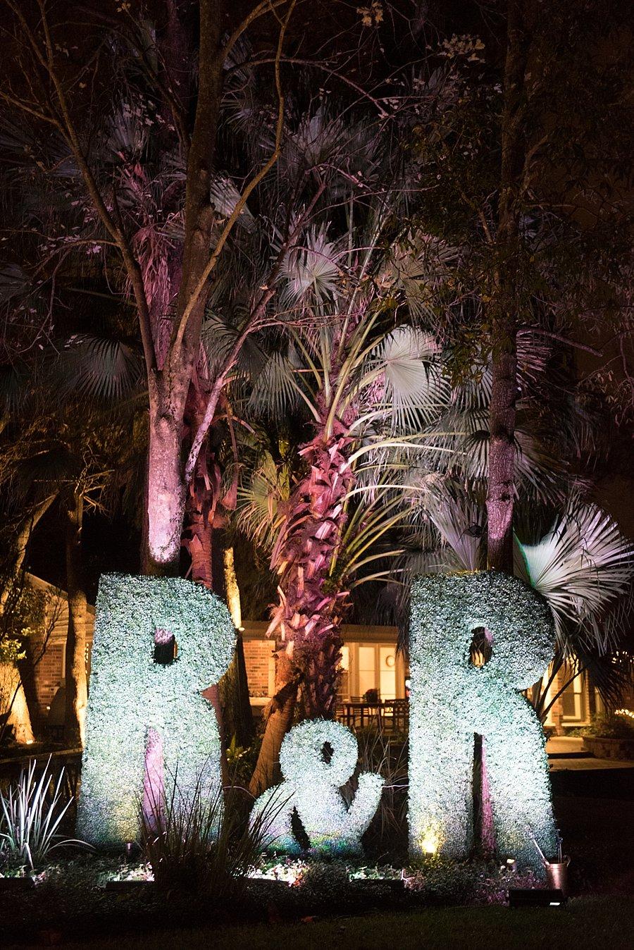 Boxwood Monogram | Classic black and white black-tie wedding at home | Sapphire Events | Jacqueline Dallimore Photo | NYE Wedding | Estate Wedding | Tented Wedding | Monique Lhuillier gown | Blush Wedding dress | New Year's Eve wedding