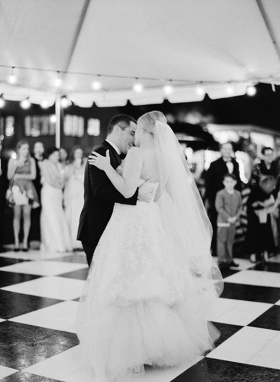 Classic black and white black-tie wedding at home | Sapphire Events | Jacqueline Dallimore Photo | NYE Wedding | Estate Wedding | Tented Wedding | Monique Lhuillier gown | Blush Wedding dress | New Year's Eve wedding | first dance | black and white dance floor