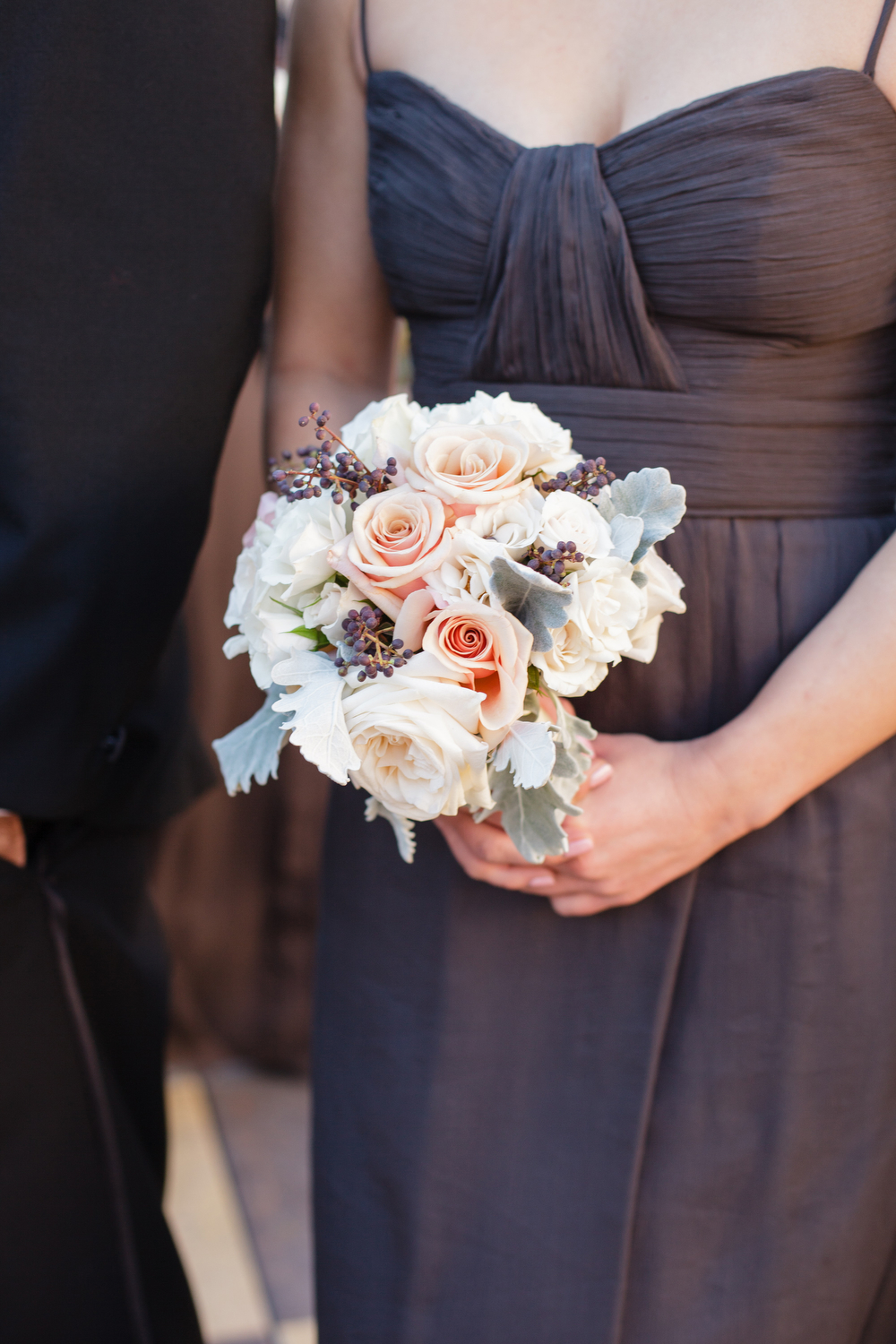 Grey bridesmaids dresses | Blush and berry bridesmaid bouquet| How to transform an open ballroom with stunning decor | Sapphire Events | Greer G Photography | Board of Trade | White and Gold Wedding | Winter Wedding Inspiration | White and Green Wedding | Ballroom wedding