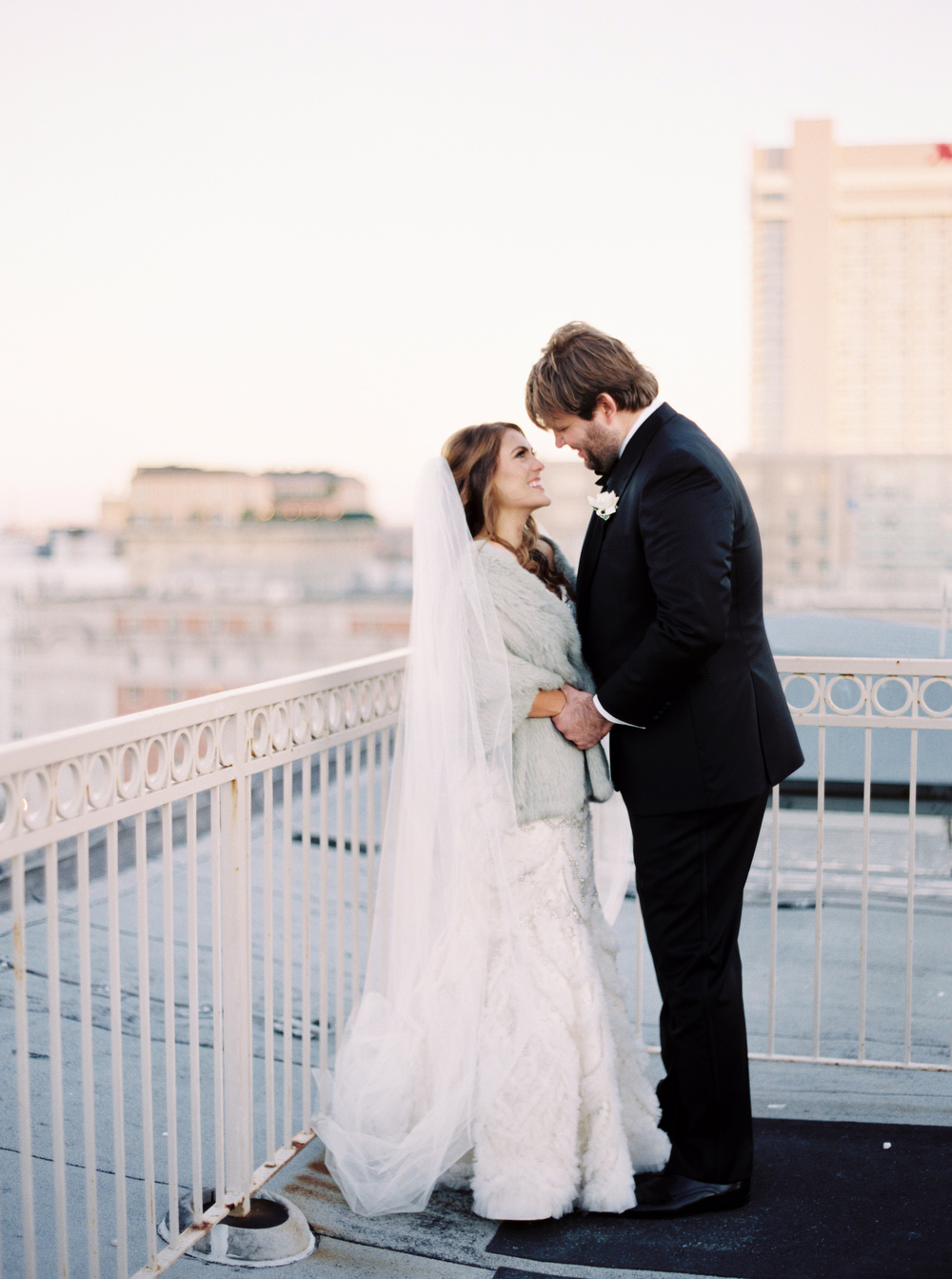 First look inspiration | Rooftop Reveal | Urban Wedding | New Orleans Skyline | How to transform an open ballroom with stunning decor | Sapphire Events | Greer G Photography | Board of Trade | White and Gold Wedding | Winter Wedding Inspiration | White and Green Wedding | Ballroom wedding