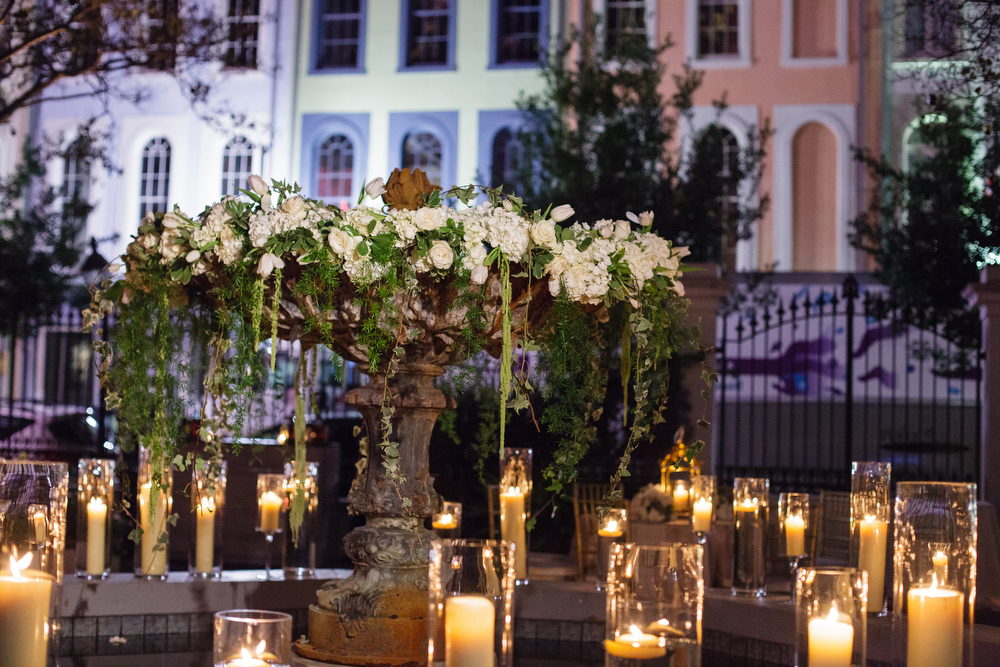 Fountain decorations at the New Orleans Board of Trade | Candlelight weddings | How to transform an open ballroom with stunning decor | Sapphire Events | Greer G Photography | Board of Trade | White and Gold Wedding | Winter Wedding Inspiration | White and Green Wedding | Ballroom wedding