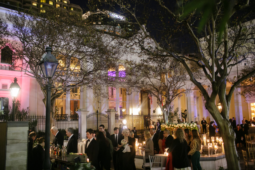 Board of Trade courtyard at night | Urban Wedding | How to transform an open ballroom with stunning decor | Sapphire Events | Greer G Photography | Board of Trade | White and Gold Wedding | Winter Wedding Inspiration | White and Green Wedding | Ballroom wedding