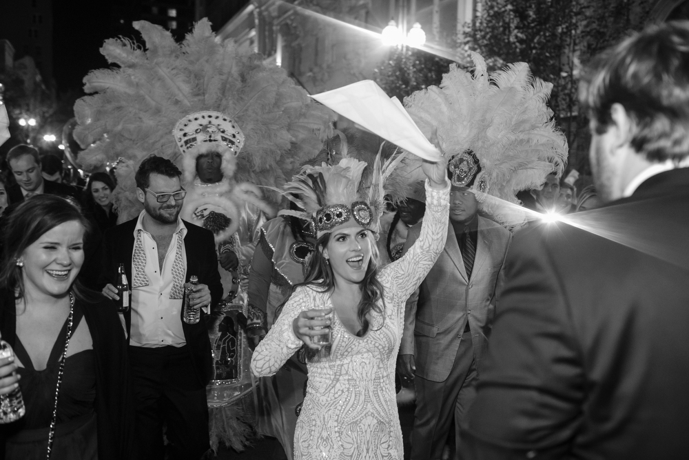 Mardi Gras Indian Second Line Parade | How to transform an open ballroom with stunning decor | Sapphire Events | Greer G Photography | Board of Trade | White and Gold Wedding | Winter Wedding Inspiration | White and Green Wedding | Ballroom wedding