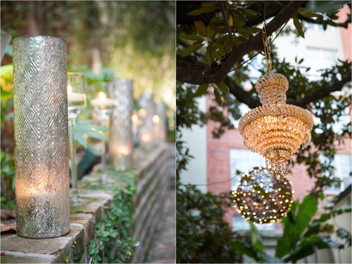 Luminous Events candle light courtyard and chandeliers in trees | This is what happens when a bride asks her guests to wear all white | Wedding En Blanc | Sapphire Events | Erika Parker Photography Montegut House | Luxury Wedding | Courtyard wedding | French Quarter Wedding | Luxe Wedding Details