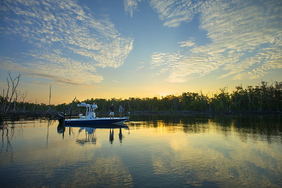 saltwater-experience-yellowfin-24-foot-bay-boat-in-the-water