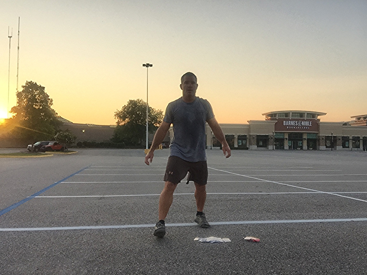 Early morning workout, alone in a parking lot. This time it was the Deck of Cards, but Jelly Legs would have been a great option. The world is your gym. No excuses!