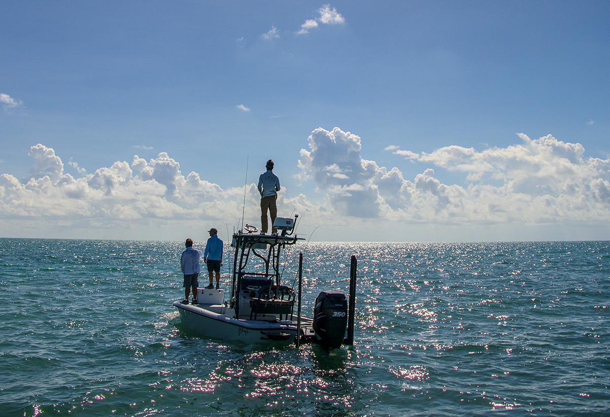 Jeff standing tall while fishing for Permit.