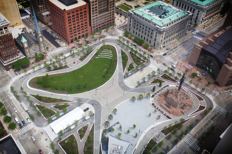 Cleveland's newly redesigned Public Square, which is reopening Thursday after a $50 million renovation.  CreditMichael F. McElroy for The New York Times