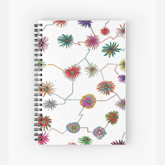 traveling daisy spiral notebook