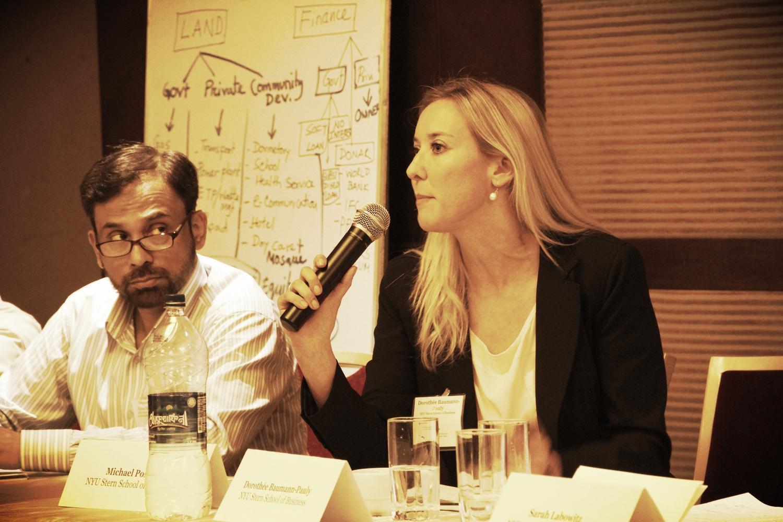 Professor Rezaur Rezak (BRAC University Business School) and Dorothée Baumann-Pauly in Dhaka, May 2014