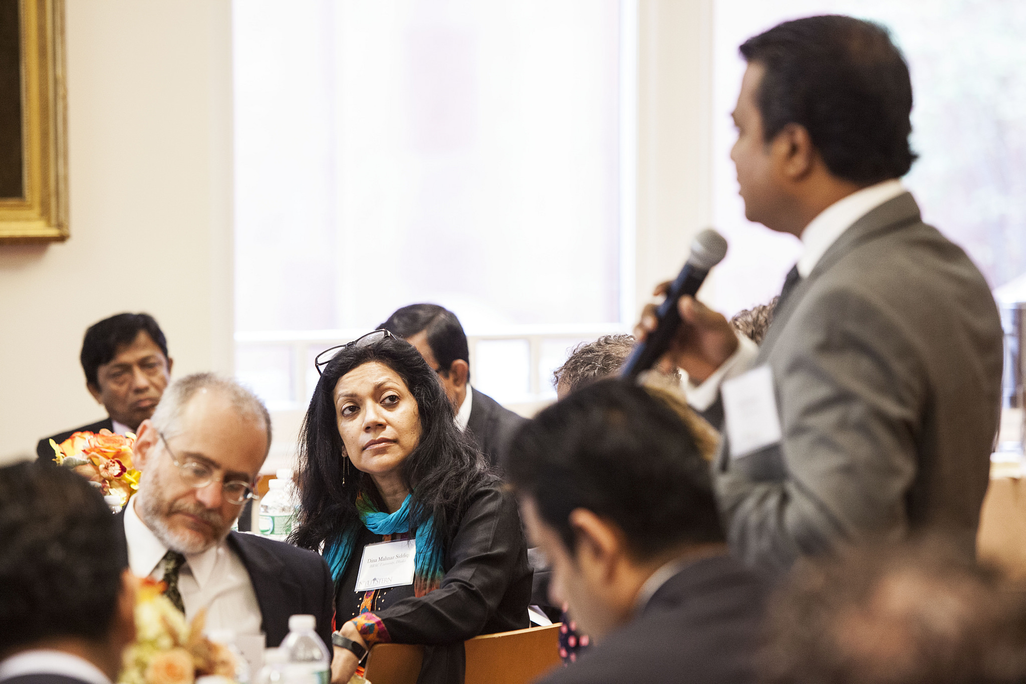 Factory owners, government representatives, brands, and civil society organizations debating the future of the garment sector in Bangladesh at the Center's September 2013 convening in New York.