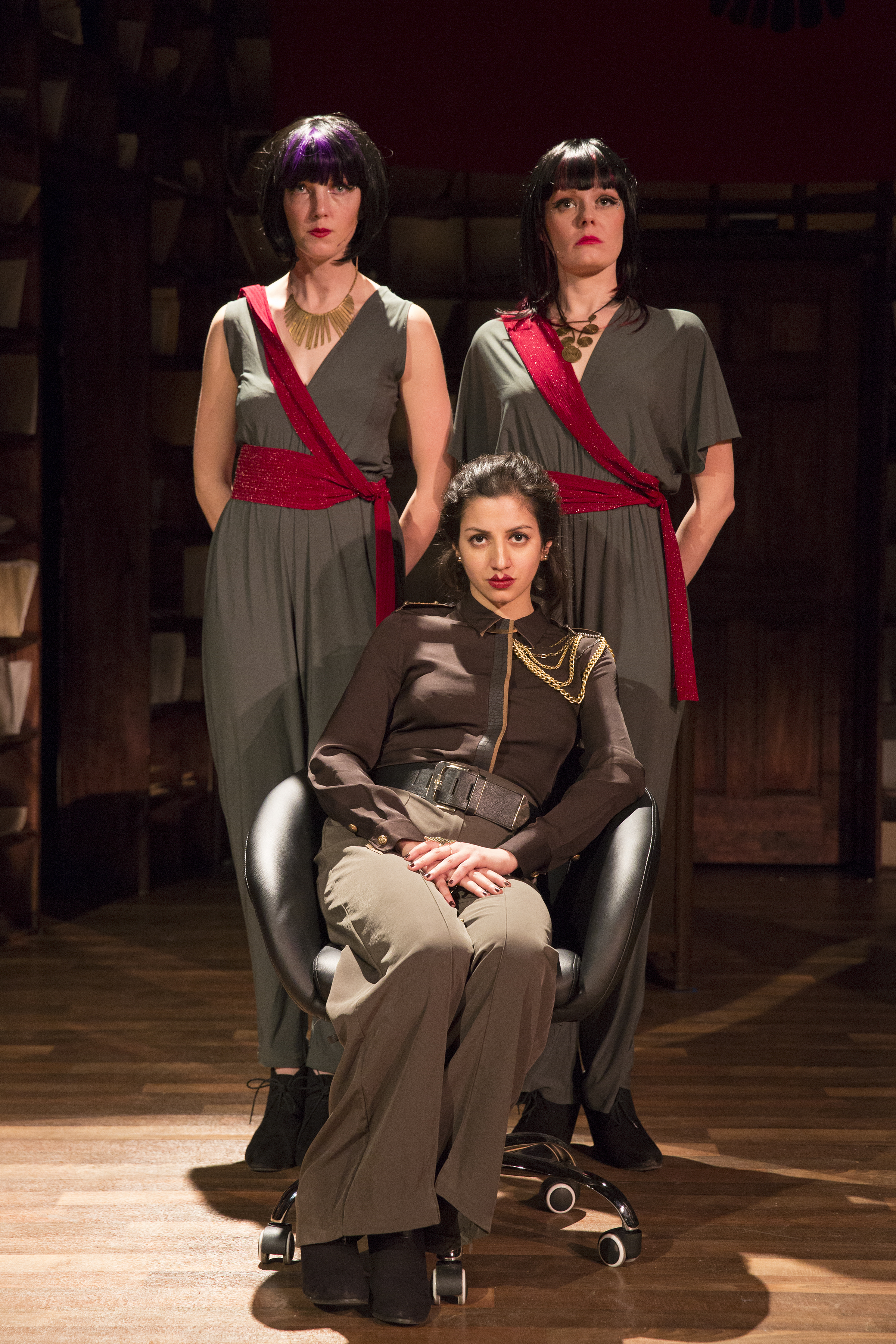 From L to R: Alaina Ferris, Catherine Brookman. Front: Layla Khoshnoudi  Photo by Richard Termine