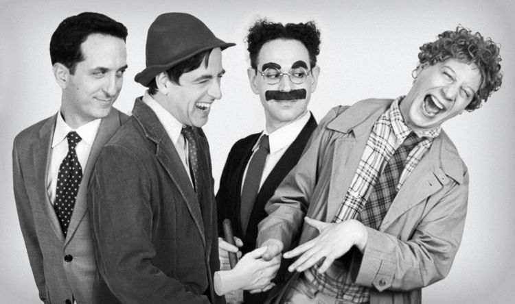 Matt Walters, Matt Roper, Noah Diamond, and Seth Shelden are Zeppo, Chico, Groucho, and Harpo. Photo by Mark X. Hopkins