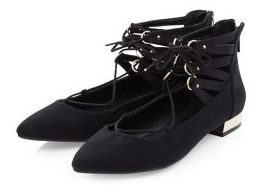 New Look Black Lace Up Pointed Pumps £22.99
