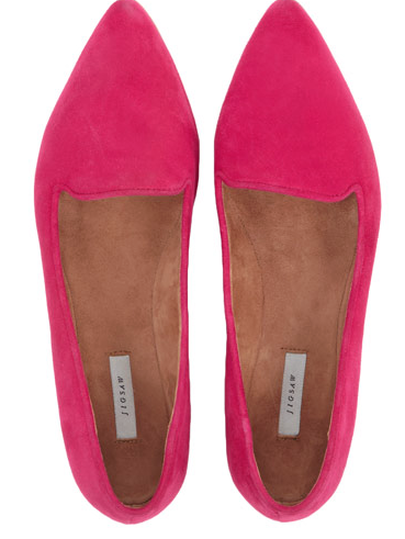 Jigsaw Cecile Pointed Flat in Raspberry and Silver £69