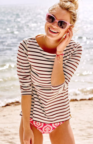 Boden Long Sleeve Breton £25 shown here in Ivory/Brown