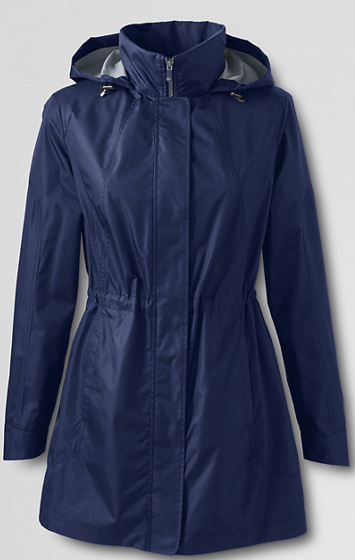 Land's End Packable raincoat £70 in blue, black and orange