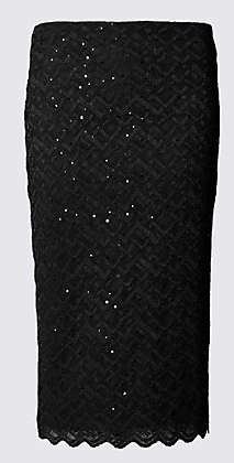 M and S geometric Sparkle Effect Lace Skirt £27.65