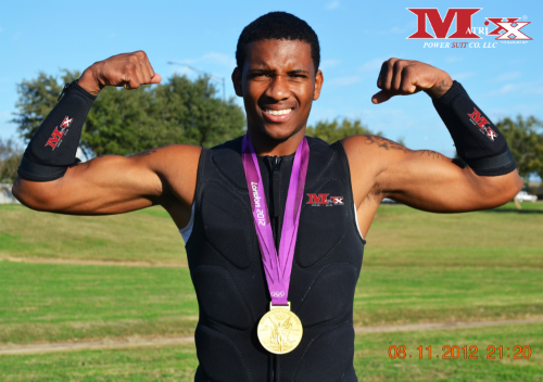Olympic Runner Demetrius Pinder w Gold Medal 2012 Olympics