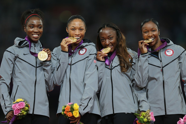 US women's Olympic Runners 2012 gold medal photo