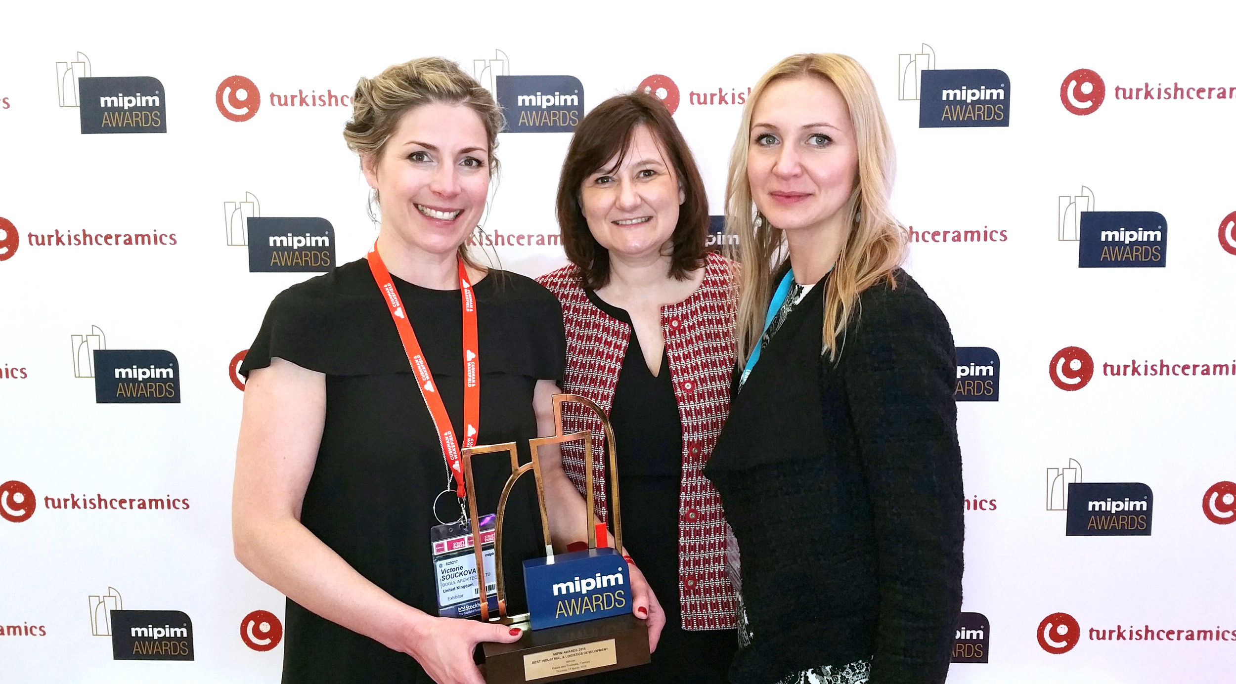 Celebrations! Our Prague studio directors Viktorie and Barbora with the director of MIPIM Béatrice Gravier.