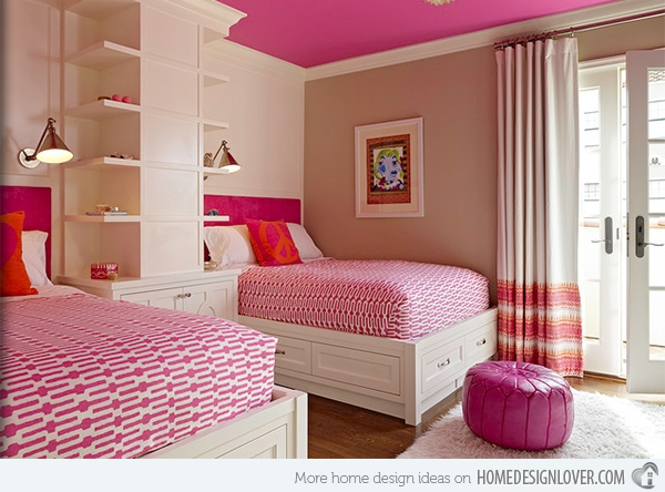 Love the pink on the ceiling and the border on the drapes!