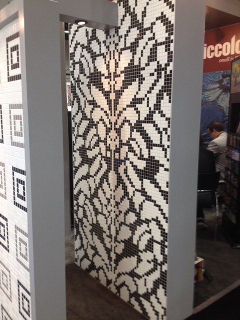 """More 1"""" tiles used to create this floral pattern. This would make a nice rug pattern on a bathroom floor."""