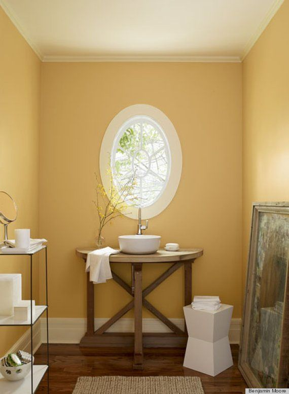 Ben Moore's August Morning will flatter most skin tones. Great for a bathroom