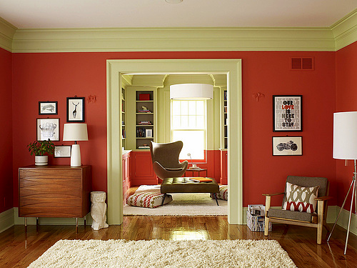 I love the color saturation that Benjamin Moore's paints provide. Here the walls are Claret Rose.