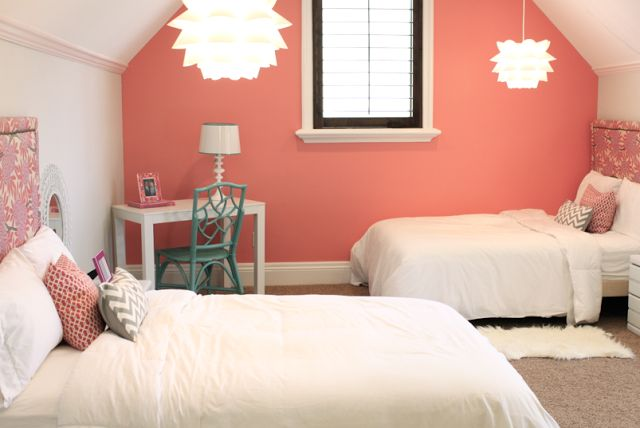Just one wall in Ben Moore's Coral Reef is the perfect touch for this teen's bedroom.