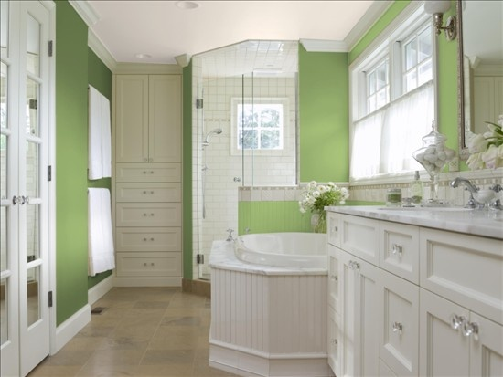 Ben Moore Kiwi Green pops against the white cabinetry and trim.
