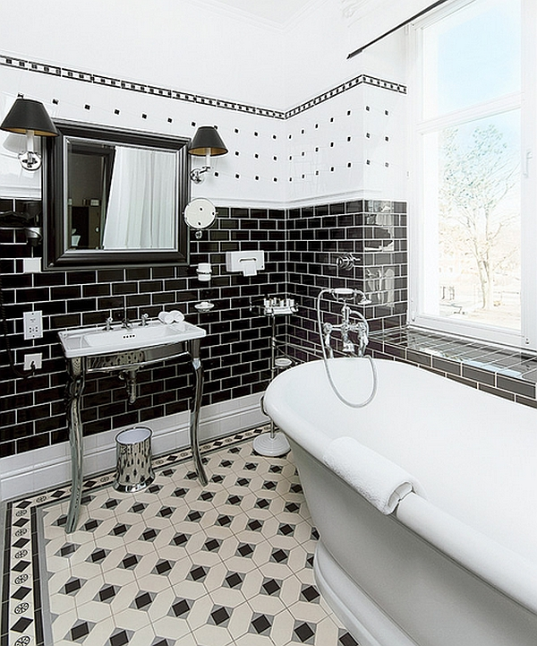 There is a lot happening in this bath. I might just do the floor or the black subway tile. Classic!