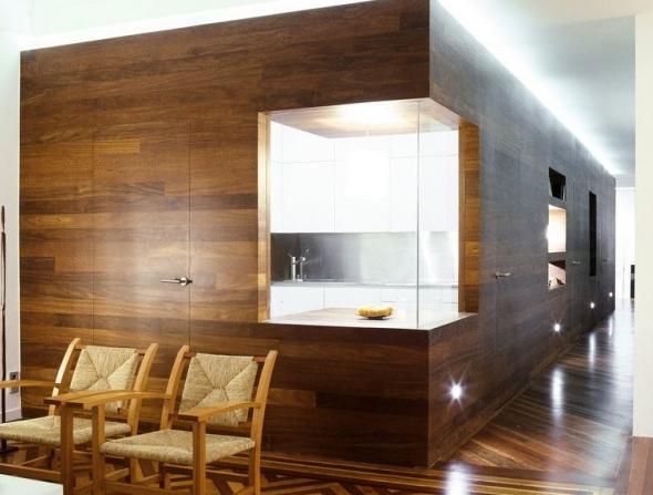 Laminate flooring on the walls!