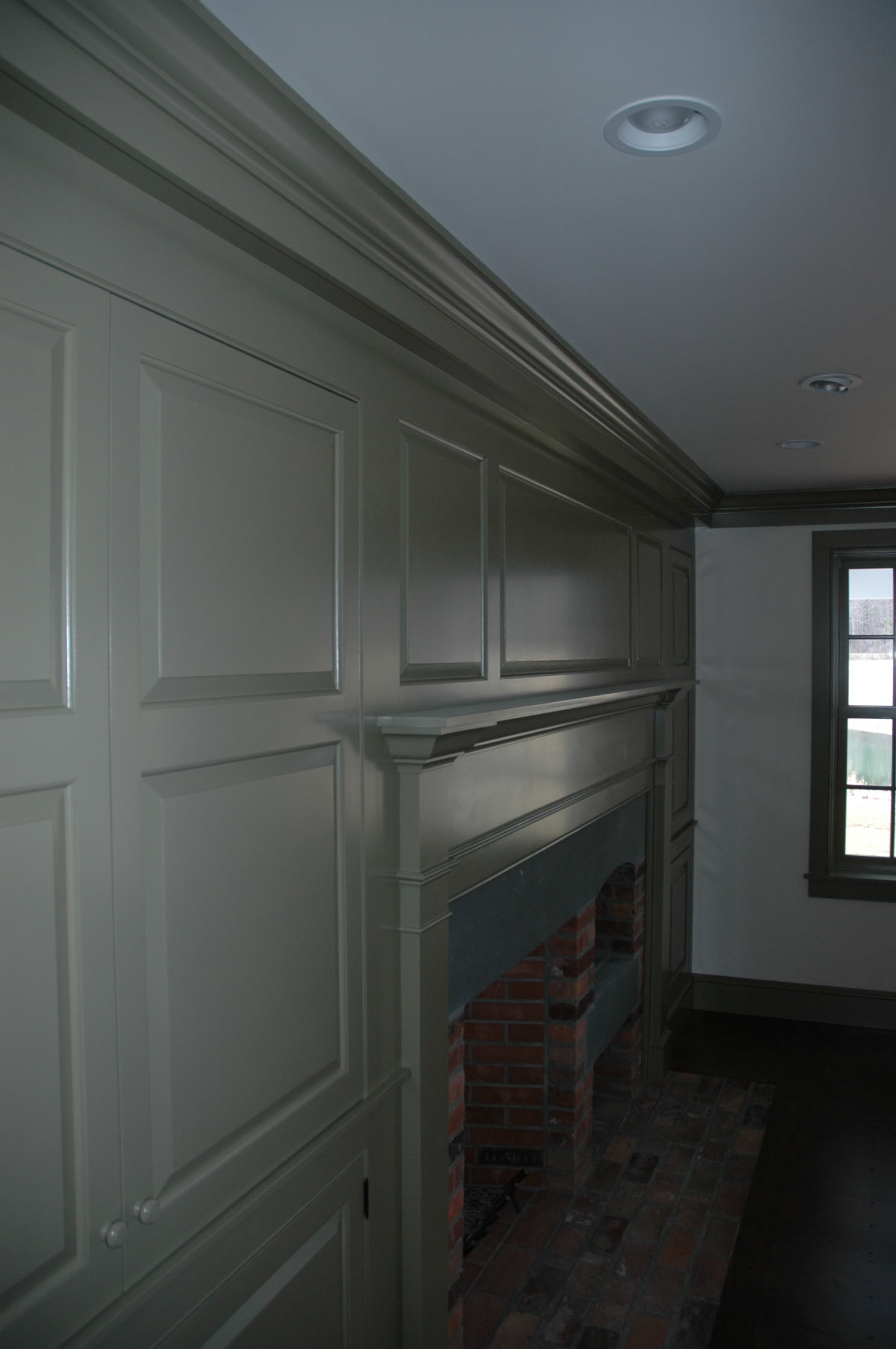 I had the good fortune of choosing the paint colors in this traditional cape, designed by Ramsay Gourd Architects. I chose one of the Historic Colors from  Ben Moore . This is  Hancock Gray  and reads as an olive green.