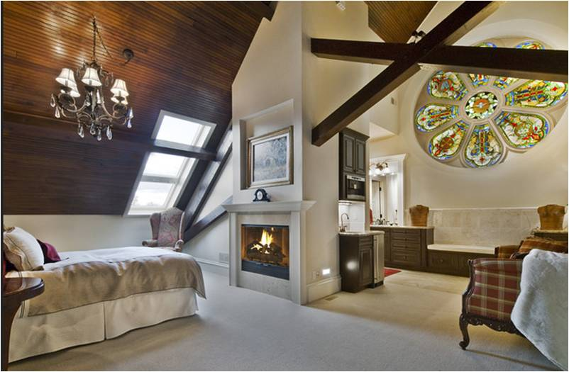 Beautiful stained glass and wood ceiling.