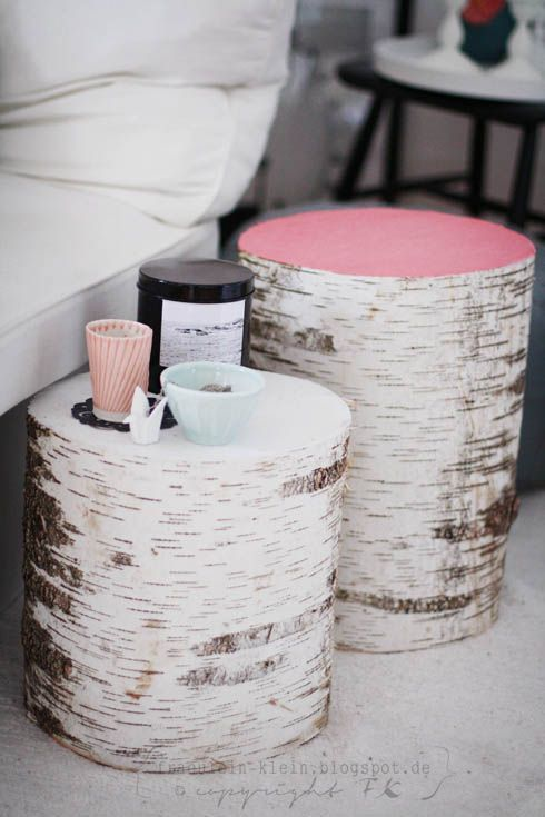 These birch logs make great side tables inside or out!  Plus the painted tops add a pop of color!