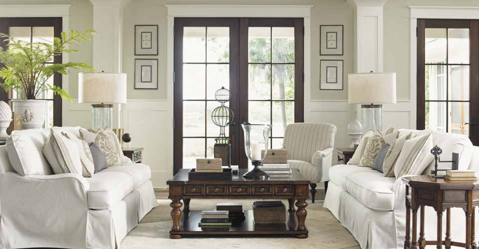 This neutral palette is a great compliment to the strong woods throughout the room.