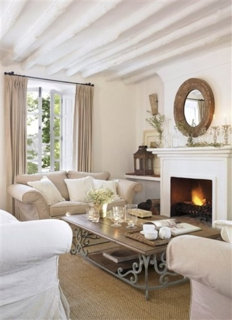 While maintaining a neutral palette throughout this room, it is anything but boring. Various textures and materials used throughout the space give the room character and visual interest.