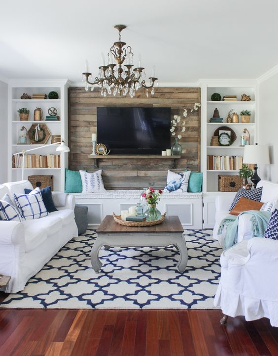 This rug is bold without being overwhelming. It is a great example of how a rug can anchor the entire composition of a room and create a cohesive, comfortable feel with a little edginess!