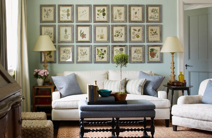 These stunning prints provide a cohesive look to this gallery wall not only in its linear placement but also its botanical theme.